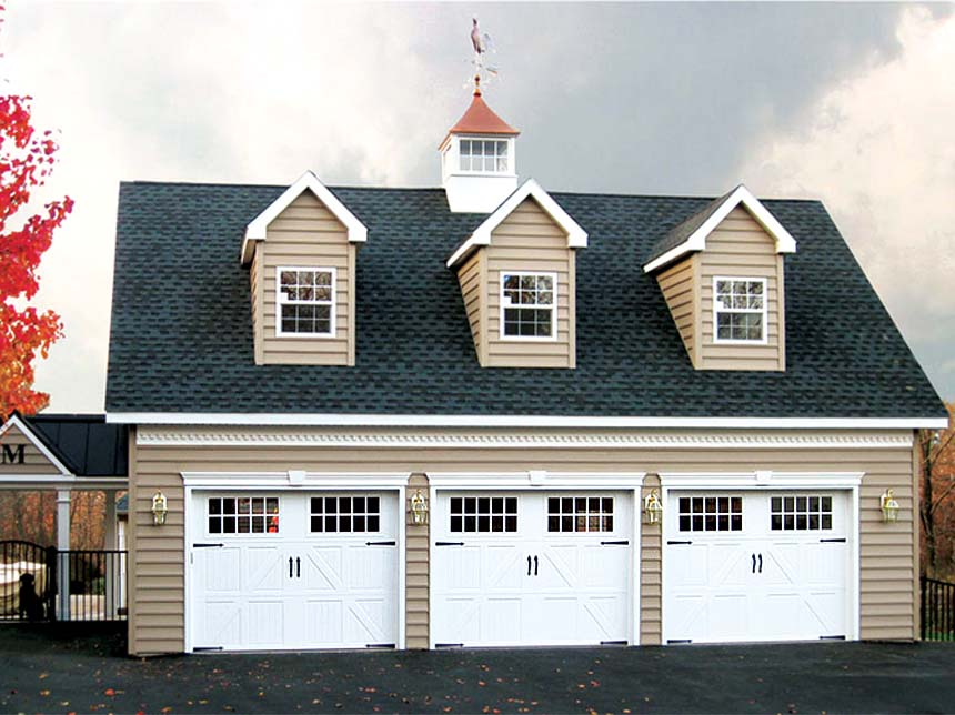 Prefab garages to custom amish built garages backyard for Cupola for garage