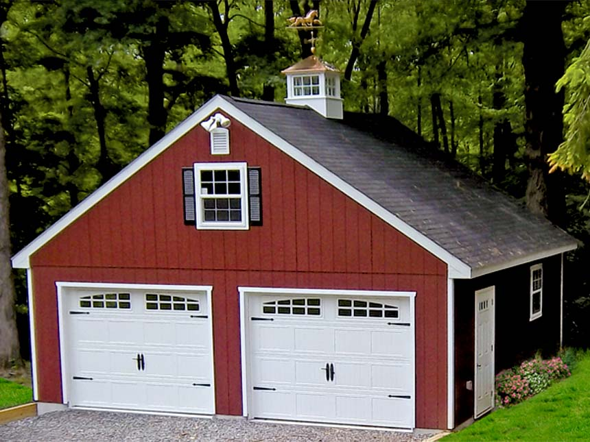 Prefab garages to custom amish built garages backyard for Custom 2 car garage