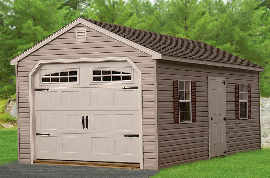 Prefab garages to custom amish built garages backyard for Garage gable