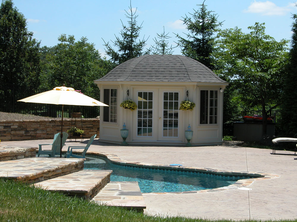 Cabana pool house poolhouse cabanas backyard beyond for Custom pool cabanas
